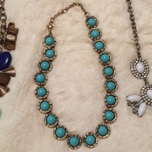 J Crew statement turquoise and gold necklace